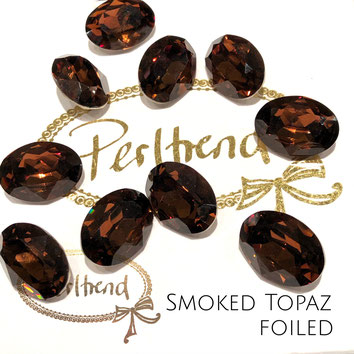 Perltrend Luzern Schweiz Onlineshop Schmuck Perlen Accessoires Verarbeitung Design Swarovski Crystals Crystal original  Fancy Stone oval 18 mm facettiert Smoked Topaz