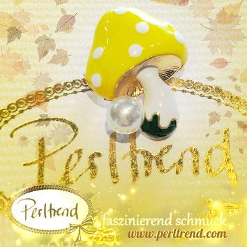 www.perltrend.com ansteckschmuck Brosche brooch Pilz Mushroom Toadstool  Autumn Perltrend  Luzern Schmuck Schweiz Onlineshop Jewellery Jewelry gelb weiss glückspilz