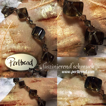 www.perltrend.com Armband Forest Cubes Rauchquarz Würfel