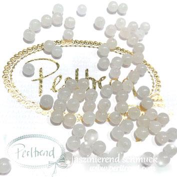 www.perltrend.com Edelsteine Gemstones Steine Perlen Heilsteine Schmuck Schmuckdesign Perltrend Luzern Schweiz Onlineshop Marmor weiss rund Edelsteinperle 4 mm