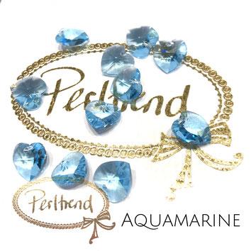 Perltrend www.perltrend.com Luzern Schweiz Onlineshop Schmuck Perlen Swarovski Crystals Pendant Pendants Anhänger heart Herz Aquamarine 10 mm