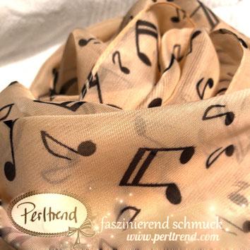 www.perltrend.com Perltrend Luzern Schweiz Onlineshop Schmuck Jewellery Jewelry Onlineshop Accessoires Schal scarf tuch tücher Musik Noten schwarz beige