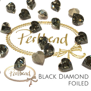 www.perltrend.com Swarovski Crystal Elements original Crystals Perltrend Luzern Schweiz Onlineshop Schmuck Jewellery Schmuckverarbeitung facettet facettierte Crystal Fancy Stone Heart 4800 Herz 11 x 10 mm Black Diamond