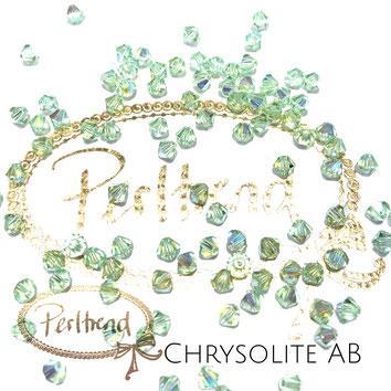 Perltrend www.perltrend.com Luzern Schweiz Onlineshop Schmuck Perlen Swarovski Crystals Bicone beads bead Doppelkegel Chrysolite AB Aurore Boreale