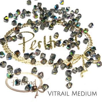 Perltrend www.perltrend.com Luzern Schweiz Onlineshop Schmuck Perlen Swarovski Crystals Bicone beads bead Doppelkegel 4 mm Crystal Vitrail Medium