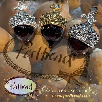 www.perltrend.com Anhänger Pendant Eicheln Eichel Acorn Glas braun gold silber Schmuck Anhängerschmuck Herbst Autumn  Herbstzauber Aschenbrödel Perltrend Luzern Schweiz Onlineshop