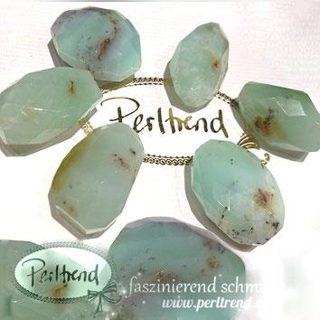 www.perltrend.com Edelsteine Gemstones Steine Perlen Heilsteine Schmuck Schmuckdesign Perltrend Luzern Schweiz Onlineshop Chrysopras Scheibe facettiert türkis hellgrün
