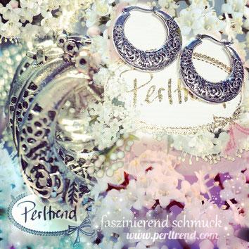 www.perltrend.com Schmuck Jewellery Jewelry Accessoires Fashion Onlineshop Luzern Schweiz Creolen flower tendrils antik silberfarben boho retro style filigran Blumen Blätter Ranken