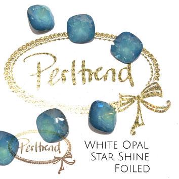 Perltrend Luzern Schweiz Onlineshop Schmuck Perlen Accessoires Verarbeitung Design Swarovski Crystals Crystal original Fancy Stones Cabochons Round Square Cushion 4470 12 mm White Opal Star Shine