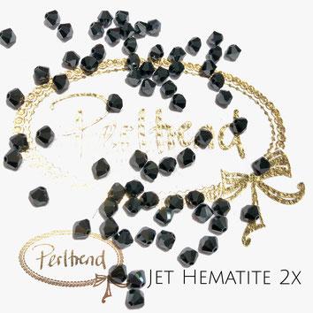 Perltrend www.perltrend.com Luzern Schweiz Onlineshop Schmuck Perlen Swarovski Crystals Bicone beads bead Doppelkegel 4mm Jet Hematite 2x