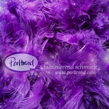 www.perltrend.com Perltrend Luzern Schweiz Onlineshop Schmuck Perlen Accessoires Federboas Federboa Federn Feder Boa Dekoration Fasnacht Hochzeit Party Highlight nähen kreativ basteln violett purple violet
