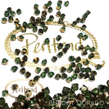 Perltrend www.perltrend.com Luzern Schweiz Onlineshop Schmuck Perlen Swarovski Crystals Bicone beads bead Doppelkegel Peridot Dorado