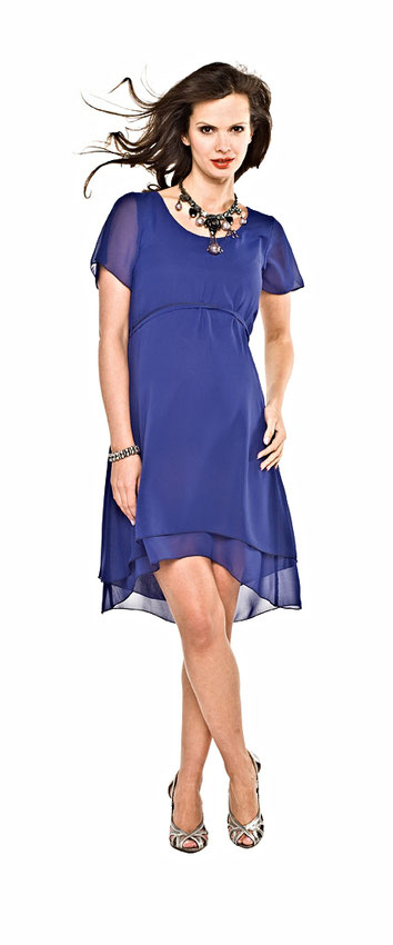 Blue Short Sleeve Maternity Dress