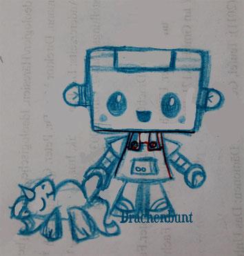 Roboter Zeichnung Digi Stamp Plotterdatei Einhorn Plüschtier Junge