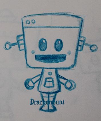 Roboter lacht für Jungen und Mädchen unisex  Zeichnung Digi Stamp Plotterdatei