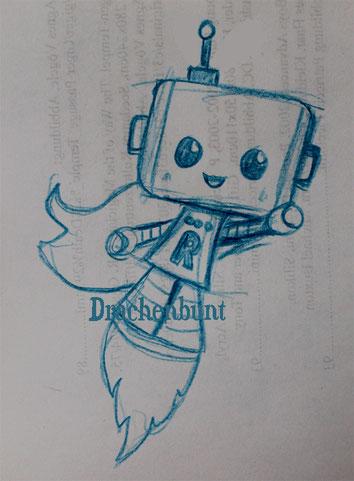 Roboter Superheld für Jungen Zeichnung Digi Stamp Plotterdatei