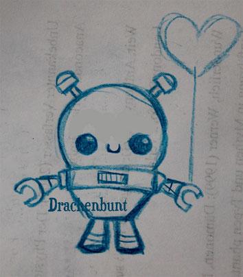 Roboter Zeichnung Digi Stamp Plotterdatei Luftballon Herz Baby