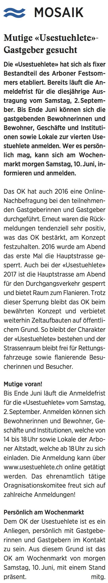 Wochenzeitung felix, 09.06.2017