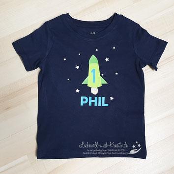 T-Shirt mit Rakete zum 1. Geburtstag