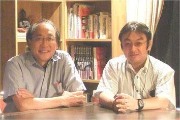 2011年8月、メンターとあおぐアリジェン製薬の所源亮社長(当時。左)とわたし。岐阜の所さんのご実家の敷地内にある書斎兼茶室にて。