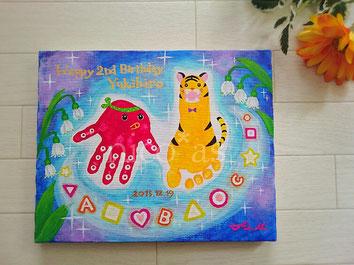 手形アート、足形アート、2歳、2歳誕生日、タコ、トラ、宇宙、ニコアズ