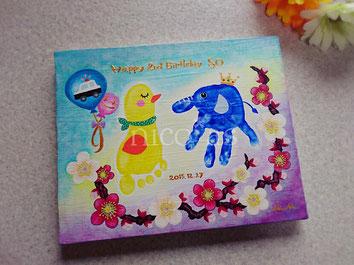 手形アート、足形アート、梅、2歳、2歳誕生日、ニコアズ、アヒル、ゾウ