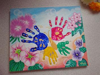 家族、記念、手形アート、蝶、インテリア、思い出、ニコアズ