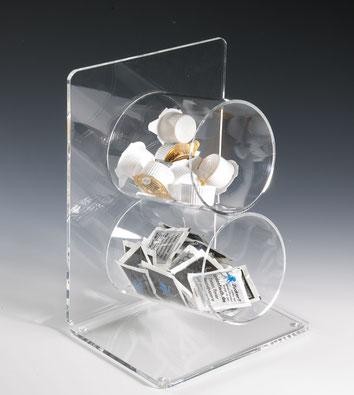 Distributeur en forme de tube, 2 compartiments 9402513, FMU GmbH, Accessoires pour le snacking