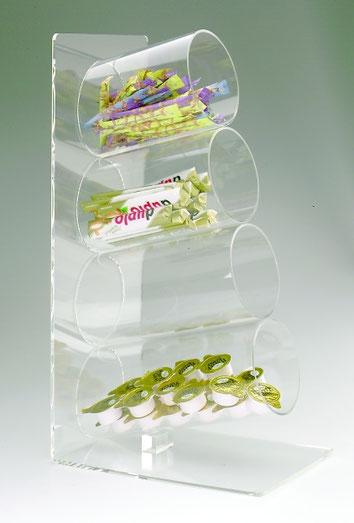 Distributeur en forme de tube, 4 compartiments 9402502, FMU GmbH, Accessoires pour le snacking