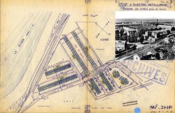 Ledorze_Cl_2_608 usine de Dives-sur-Mer, plan groupe de cités, 07-11-1938