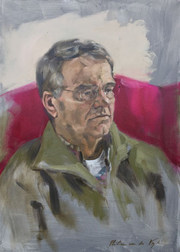 """Papa"", painted portrait in oil on linen 50x70cm by Philine van der Vegte"