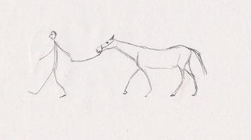 Mensch zieht Pferd hinter sich her