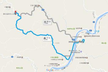 かわもとおとぎ館より湯谷温泉弥山荘までの地図