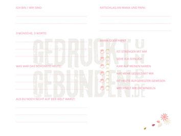 Taufbuch mit bedruckten Innenseiten Seite 9  - Erster von 6 auszufüllenden Gästefragebögen