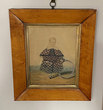 Naive watercolour portrait of a little boy in chequered cape with hoop