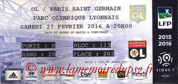 Ticket  Lyon-PSG  2015-16