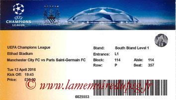 Ticket  Manchester City-PSG  2015-16