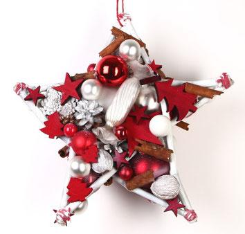 Handgefertigter Stern aus Hamburg in rot und weiß