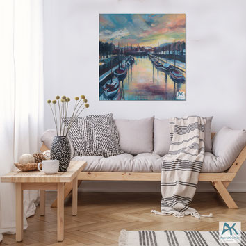 Astrid Krömer, Germaniahafen Kiel, Acryl auf Leinwand, 2021, 100x100 cm