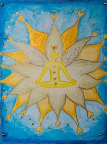 Kunst, Yogakunst, Yoga-Art-Stamp-Card, Lotusblume, Herz, Gold, Blau, Künstlerin Carmen Weder
