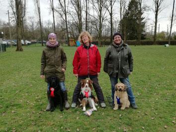 Unsere Trainerinnen mit ihren Hunden (v.l.n.r.):  Caro mit Bogart, Elke mit Arnie und Uschi mit Sandy