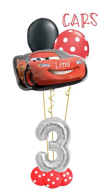 Ballon Luftballon Heliumballon Deko Dekoration Überraschung Mitbringsel Ballonpost Ballongruß Versand verschicken Geburtstag happy birthday Geschenk Idee Ballonpost Bouquet Heliumballons Name personalisiert Cars Lightning McQueen Zahl Alter Versand Ballon