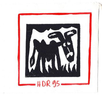 L'ÂNE :  Linogravure d'Hervé Di Rosa pour L'Ane de Joël Jacobi (Editions Luis Casinada)