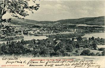 um 1900 - Sicht auf Lauffohr vom Bruggerberg