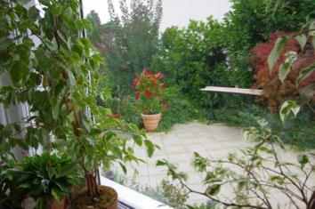 Blick aus dem Esszimmer auf die Terrasse