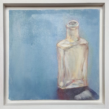 """Glass Bottle #1"" GB01o 20.5x20.5cm oil on canvas board,Framed."