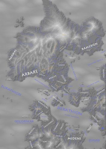 Landschaften der bekannten Welt (Weiß: Länder und Landschaften; Braun: Gebirge; Blau: Meere)