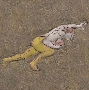 Wandmalerei: Spieler von Leukas Pelandis in Sturmpose
