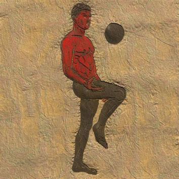 Wandmalerei: Spieler von Arkosteas Draspon mit Ball