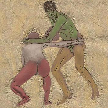 Klassische Wandmalerei: Ein weiß-roter Spieler versucht einen grün-gelben Spieler am Vormarsch zu hindern
